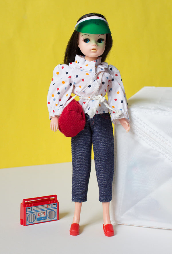 Beach Party Sindy with bag, visor and ghetto blaster cassette player