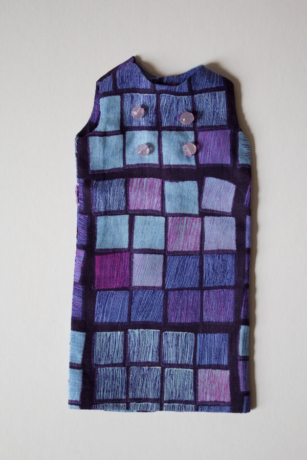 Purple and blue dress with vintage art squares print