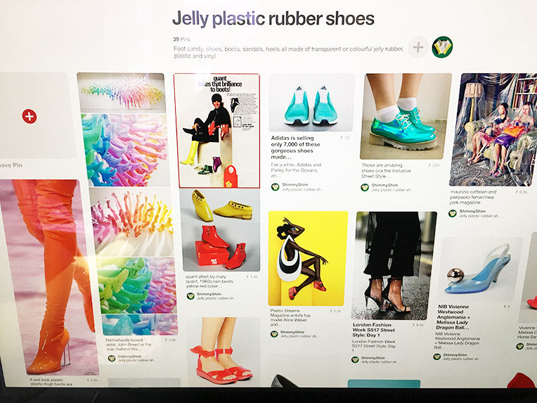 Screenshot of jelly plastic rubber shoes on Pinterest
