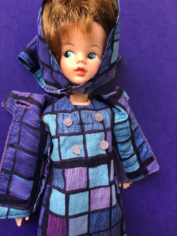 Purple and blue 1960s lined jacket with matching dress