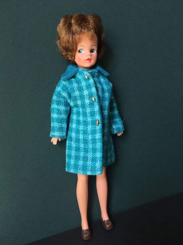Mini Sindy in handmade turquoise coat