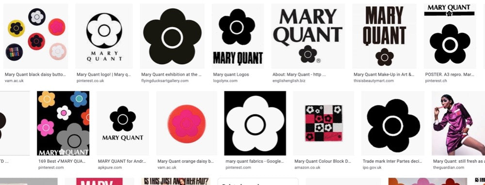 Screenshot of Mary Quant daisy logo