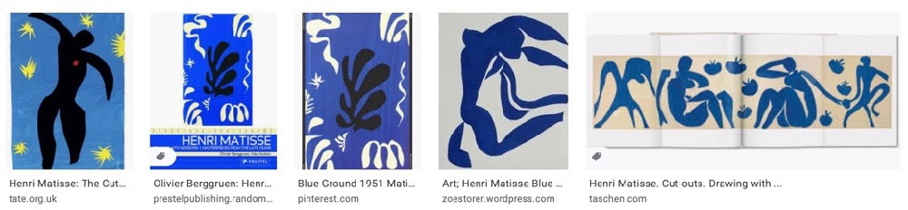 Screenshot of blue Matisse cut-outs