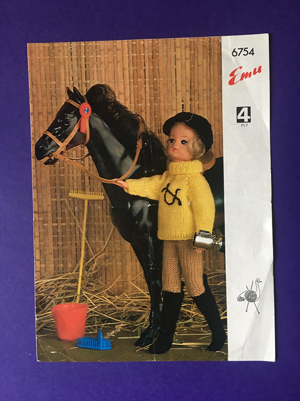 Vintage Emu horse themed knitting pattern