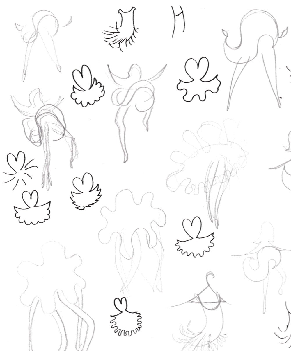 Heart and flower dress sketches