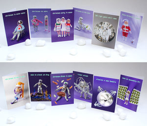 Christmas cards by ShimmyShim humorous dolls in space theme size 12.5x18cm