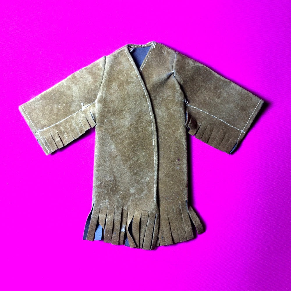 Palitoy Action Girl Mini Ha Ha brown tan faux suede coat with tassels for 12