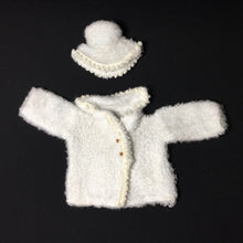 "Load image into Gallery viewer, Palitoy Action Girl Snow Girl white fluffy coat and hat with bobble trim fits 12"" doll"