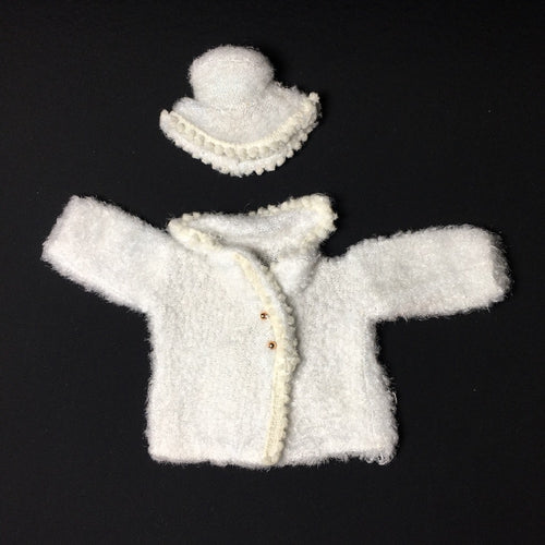 Palitoy Action Girl Snow Girl white fluffy coat and hat with bobble trim fits 12