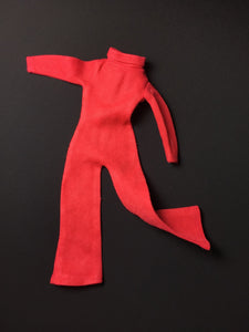 Palitoy Action Girl red jumpsuit vintage flared trouser turtle neck