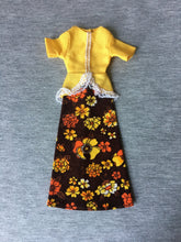"Load image into Gallery viewer, Palitoy Action Girl yellow and brown floral maxi dress fit 12"" fashion doll"
