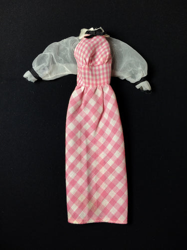 Quick Curl Barbie dress 1972 pink gingham check Mattel 4220 fits 12
