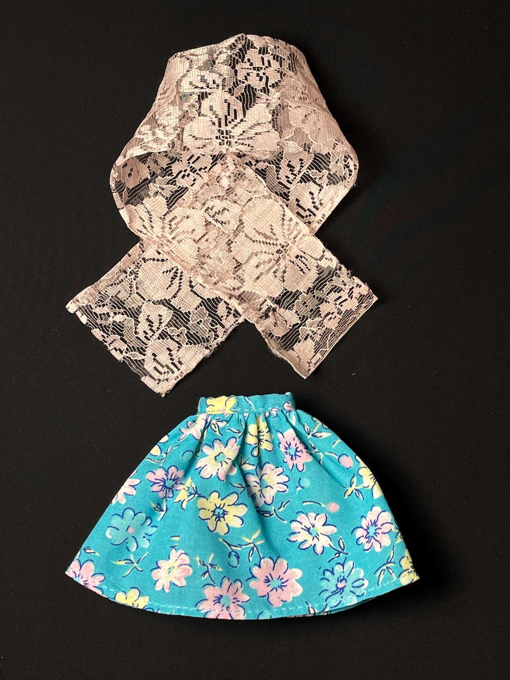 Blue floral Genuine Barbie skirt with pink lace scarf