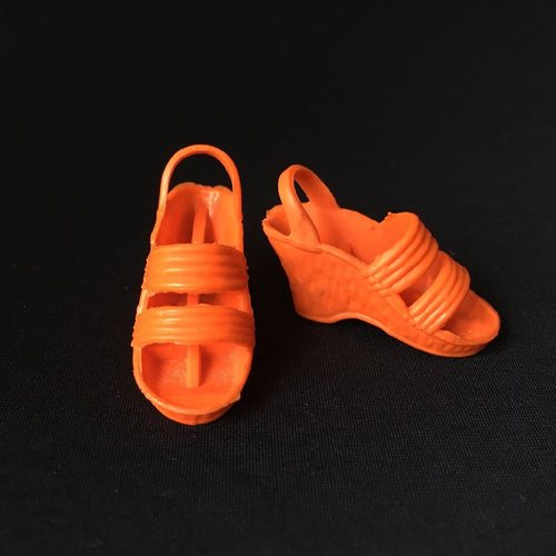 Vintage Kenner Bionic Woman 1977 #65810 shoes - orange red wedge sandal