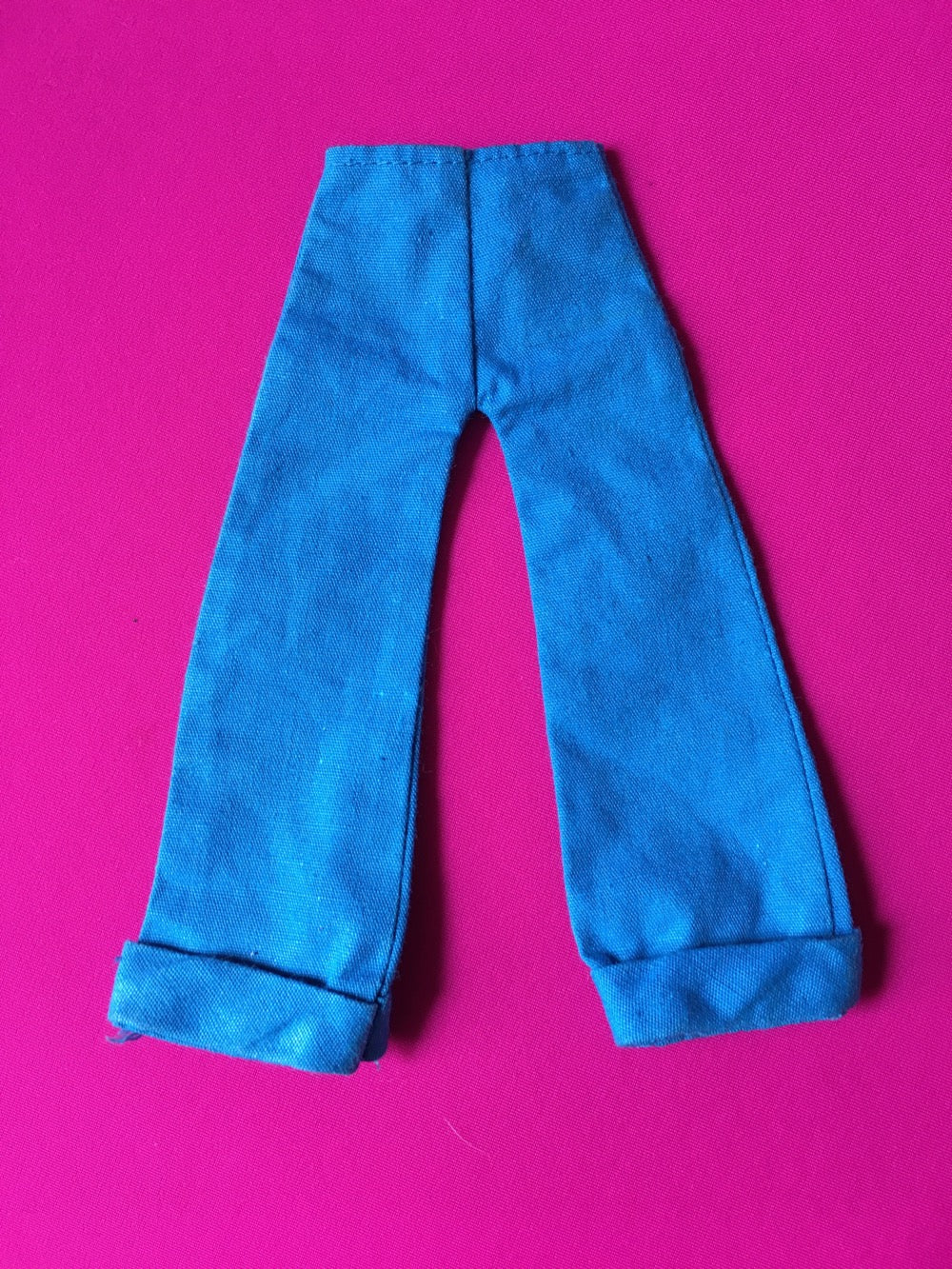Palitoy Action Girl blue trousers flared 1970s with turn ups