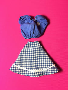 Palitoy Tressy Hair Grows 1979 blue gingham check skirt gypsy top 4th issue