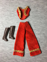 "Load image into Gallery viewer, Red velvet trousers waistcoat set Hasbro Charlie's Angels 1977 fit 9"" doll"