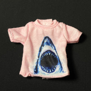 "Creatable World shark T-shirt top pink fit 10"" to 12"" doll"