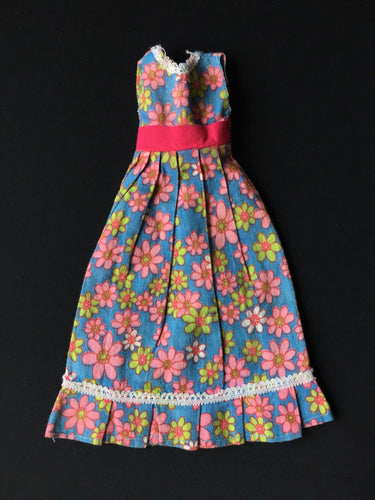 Blue daisy floral print dress pink green flowers fit 12