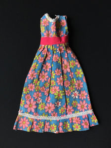 "Blue daisy floral print dress pink green flowers fit 12"" fashion doll 1:6"