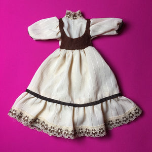 "Faerie Glen dress beige and brown with lace trim 11"" 12"" doll clothes"