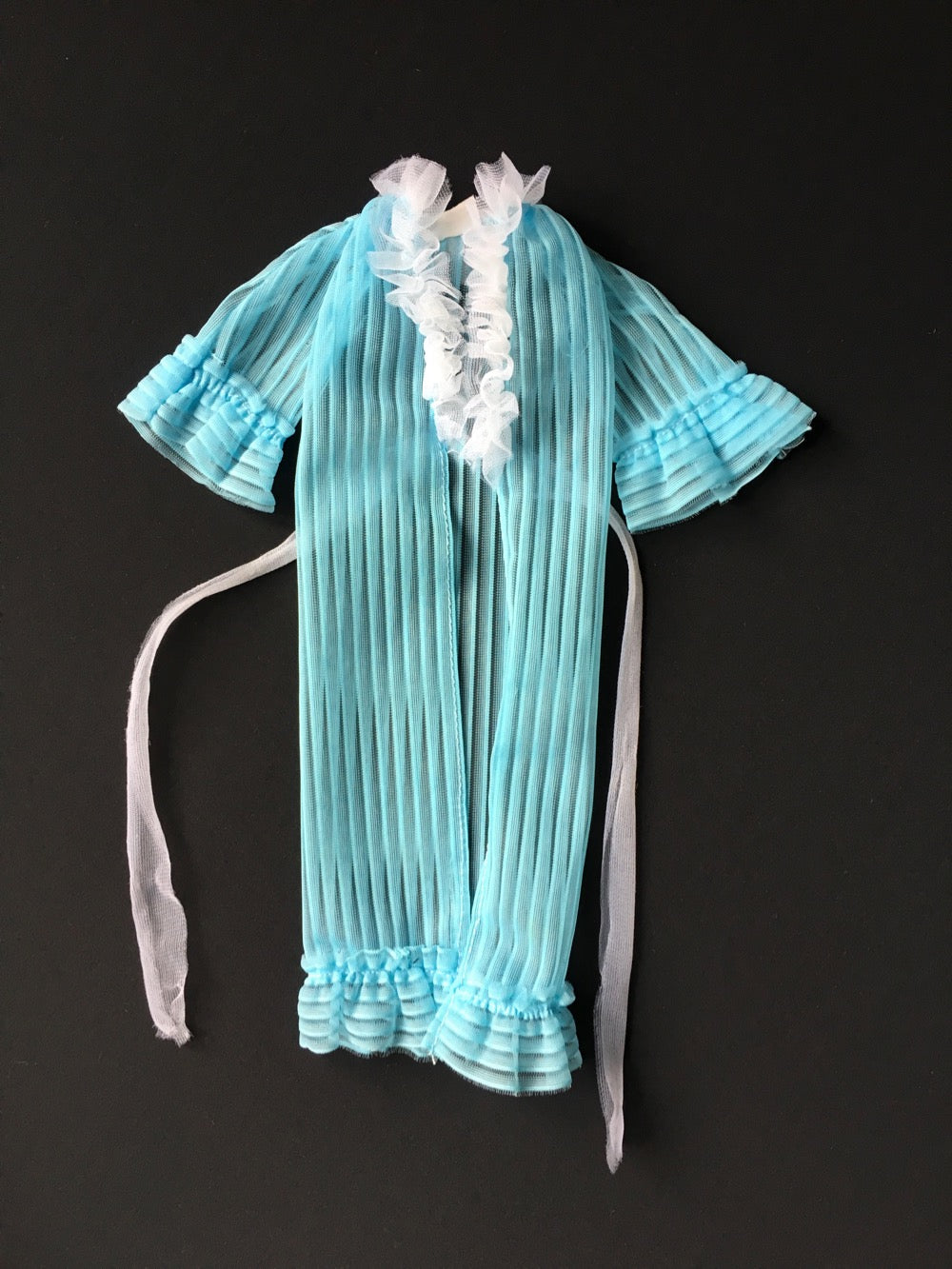 Genuine Barbie blue peignoir dressing gown wrap ruffle trim fit 12