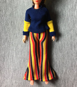 "MEGO Dinah Mite Folk Singer 1407 blue top guitar stripe trouser set fit 8"" doll"