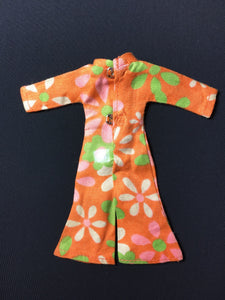 "1970s Triki Miki orange green floral jumpsuit play suit fit 6"" doll"