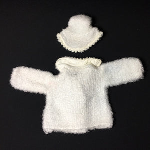 "Palitoy Action Girl Snow Girl white fluffy coat and hat with bobble trim fits 12"" doll"
