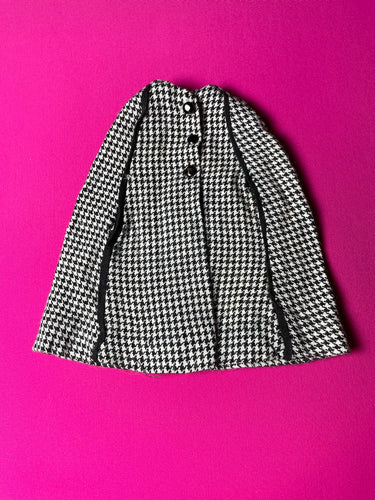 "Sindy houndstooth Cape 1963 black white 12S57 fit 11"" doll"