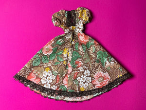 "Sindy Fair Lady gown 1979-80 Pedigree 44299 period dress brown floral  fit 12"" doll"