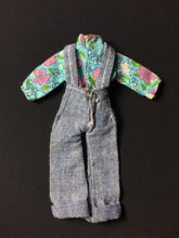 "Load image into Gallery viewer, Pippa Dawn size denim dungarees fit 6"" doll floral blouse and pocket"