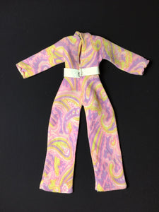 Sindy Lovely Lively jumpsuit 1971 Pedigree 12LS pink paisley swirl
