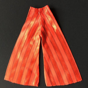 "Red flared trouser suit 1970s jersey satin fit 12"" fashion doll"
