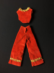 "Red velvet trousers waistcoat set Hasbro Charlie's Angels 1977 fit 9"" doll"