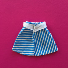 Load image into Gallery viewer, Pedigree Sindy Blue White Striped Skirt 1973 mini skirt with belt
