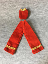 "Load image into Gallery viewer, Charlie's Angels red velvet trouser suit gold brocade Hasbro 1977 fit 9"" doll"