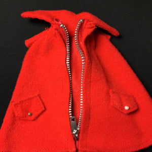"Palitoy Action Girl Miss Capable red poncho cape with real zip fits 12"" doll"