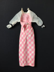 "Quick Curl Barbie dress 1972 pink gingham check Mattel 4220 fits 12"" doll"