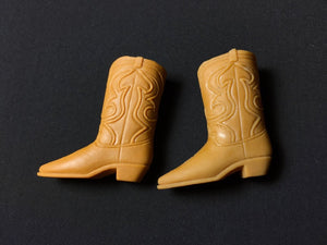 Vintage Ken cowboy boots tan light brown shoes 1970s 4cm long