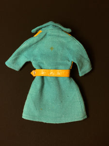 Pedigree Sindy Midi Coat 1971 green turquoise leatherette belt 12S102