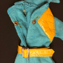 Load image into Gallery viewer, Pedigree Sindy Midi Coat 1971 green turquoise leatherette belt 12S102