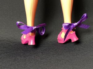 Chunky pink sandals with purple ribbon ankle straps fit Sindy doll feet 2.5cm long