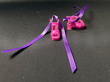Load image into Gallery viewer, Chunky pink sandals with purple ribbon ankle straps fit Sindy doll feet 2.5cm long