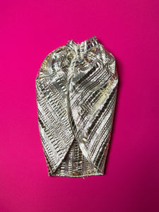 "Silver crepe skirt / cape with gold stripes fit 12"" fashion doll 1:6"