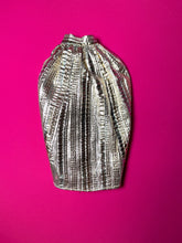 "Load image into Gallery viewer, Silver crepe skirt / cape with gold stripes fit 12"" fashion doll 1:6"