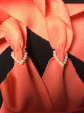 Load image into Gallery viewer, Bionic Woman dress Peach Dream 1977 orange halter neck with hearts
