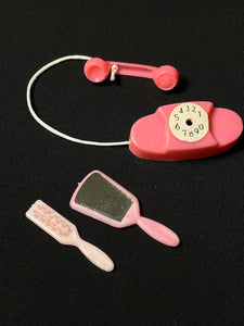 "Pink Princess vintage phone with mirror and brush fit 12"" doll scale 1:6"