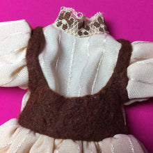 "Load image into Gallery viewer, Faerie Glen dress beige and brown with lace trim 11"" 12"" doll clothes"