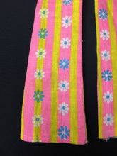 "Load image into Gallery viewer, 1970s pink yellow stripe dungarees with daisy flowers fit 12"" doll 1:6"